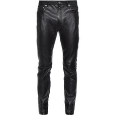 Saint Laurent Embellished leather trousers (€3.900) ❤ liked on Polyvore featuring men's fashion, men's clothing, men's pants, men's casual pants and black