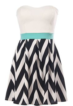 Chevron Breeze Dress: Features a chic strapless cut teamed with a stunning sweetheart neckline, brilliant mint blue waistband crowned by flattering princess seams, and a striking chevron print A-line skirt to finish.