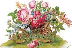 Glanzbilder - Victorian Die Cut - Victorian Scrap - Tube Victorienne - Glansbilleder - Plaatjes : Blumenwagen - Flower cart - Fleur panier