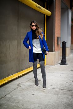 Cobal Coat, Color Block Sweater, Over-the-knee boots