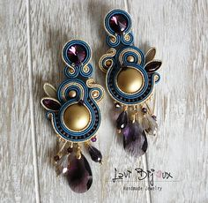 Soutache Earrings, Handmade Earrings, Hand Embroidered, Soutache Jewelry, Handmade from Italy, OOAK --------------------------------------- Earrings handmade by me with soutache embroidery technique. ITEM DETAILS: -Colors: violet, blue, gold. -Materials: soutache string, beads,