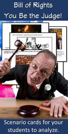 Challenge your students to apply the Bill of Rights with current issues, political cartoons, images and court cases. This product will give you multiple scenarios to review and apply the Bill of Rights with your students! All of these scenarios will help your students prepare for any test or quiz on the Bill of Rights. Give your students a scenario card and see if they can identify which amendment applies to the political cartoon, image or court case.