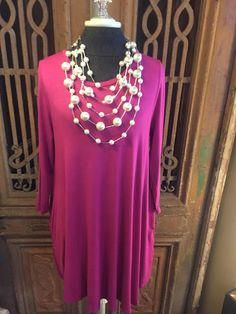 """""""Blowing Raspberries"""" tunic dress is available in sizes S-2X $34.99 www.poshclicks,com"""