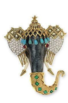 A MULTI-GEM, ENAMEL AND GOLD ELEPHANT BROOCH, BY JEAN SCHLUMBERGER, TIFFANY & CO.