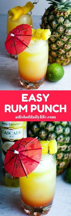 You'll feel like you're on an tropical vacation when you're sipping this easy Rum Punch with pineapple and coconut! Perfect cocktail recipe for summer entertaining! AD @cascadeicewater