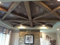 Tyler Morrison Steiner Ranch wood plank ceiling detail in large two story family room