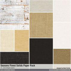 Seasons Finest Solids Paper Pack burlap and woods in a neutral palette #designerdigitals