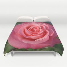 Cherish rose duvet cover, nature photograph, old fashioned garden flower, floral home decor, bedroom decor, bedding, coral pink rose by RVJamesDesigns on Etsy