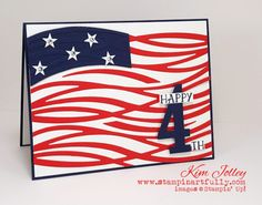 handmade of July card from Stampin Artfully: Feeling Patriotic . Swirly Bird die cut waves serve as the stripes for this graphic look flag . Stampin' Up! Tarjetas Stampin Up, Military Cards, Westerns, Mary Fish, Stamping Up Cards, Rubber Stamping, Bird Cards, Pretty Cards, Creative Cards