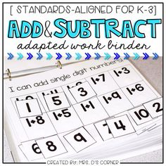 Save money by buying the FULL MATH BINDER. • ADDITION AND SUBTRACTION * Functional and differentiated skill work that covers adding and subtracting mathematics standards-aligned topics for