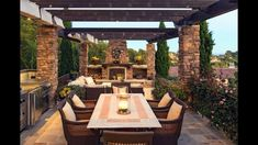 Outdoor, Outdoor Dining Area Plus Summer Kitchen That Placed At Wonderful Pergola Looks So Pleasant Place That Decorated With Various Ornamental Plants: Choosing Appropriate Outdoor Kitchen Concepts Backyard Patio Designs, Pergola Patio, Pergola Kits, Pergola Ideas, Patio Ideas, Pool Porch, Patio Grill, Patio Privacy, Backyard Gazebo