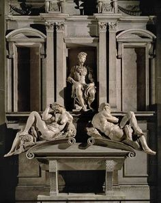 # The Tomb of Giuliano de 'Medici, duke of Nemours is a sculptural and architectural complex in marble by Michelangelo Buonarroti, dated to and is part of the decoration of the New Sacristy in San Lorenzo in Florence. Miguel Angel, Italian Renaissance, Renaissance Art, Voyage Rome, Firenze Italy, Italy Holidays, Sistine Chapel, Oeuvre D'art, Art And Architecture