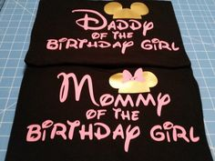 Mommy & Daddy of the Birthday Girl, Mouse silhouette Mommy Daddy couple's Tshirts set black with light pink and gold by WestEnderleBoutique on Etsy https://www.etsy.com/listing/254873184/mommy-daddy-of-the-birthday-girl-mouse