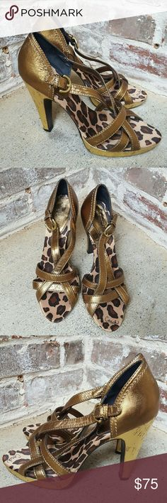 Coach Metallic Heels Animal print insole. These heels are too hot to handle. Never worn. No filter. Coach Shoes Heels
