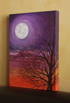 Hey, I found this really awesome Etsy listing at http://www.etsy.com/listing/107268561/original-painting-purple-fairy-tree-moon