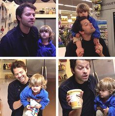 Misha and his son, West! Bottom Left and Top Right are freakin precious!