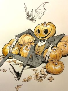 Cool Halloween pumpkin illustration art , perfect for inktober, awesome vintage hipster Hollywood a slapstick style Corytis: Art And Illustration, Halloween Illustration, Illustrations, Hipster Illustration, Watercolor Illustration, Arte Inspo, Kunst Inspo, Fantasy Kunst, Fantasy Art