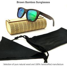 Men's Brown Bamboo Sunglasses Wooden Hearts, Sunglasses Case, Bamboo, Brown, Bags, Products, Fashion, Handbags, Moda