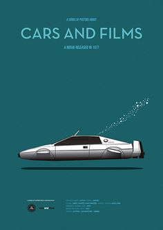 Poster of the car of The Spy Who Loved Me. Illustration Jesús Prudencio. Cars And Films