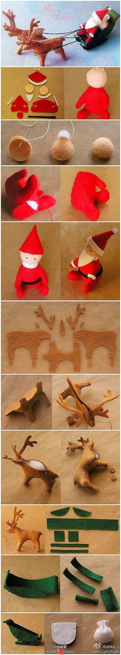 DIY felt santa, sleigh and reindeer