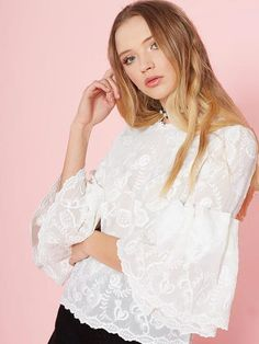 Dahlia Nuria White Embroidered Chiffon Top with Fancy Fluted Sleeve