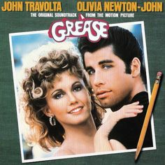 """""""Grease"""" (1978, RSO).  Music from the original movie soundtrack.  Contains songs by Olivia Newton-John and John Travolta."""