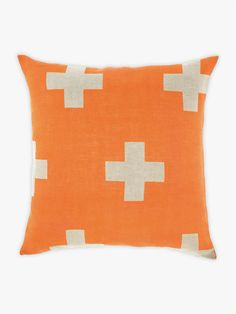 AURA Crosses Cushion in Orange Poppy, available at Forty Winks lovely cushion!
