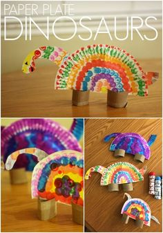 Colorful Paper Plate Dinosaurs for Kids - Toddler Approved