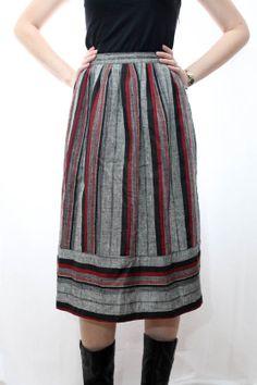 Vintage 90s Striped Navajo Southwestern Skirt by OldSchoolAustin, $10.00