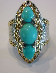 Sleeping Beauty Turquoise  Ring 14K & Platinum over Sterling Silver Size 7 NWT #Unbranded #Cocktail #ChristmasBirthdayCasualWork