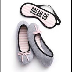 NWT Slippers & Mask Set Limited Edition Size Lrg slippers with sleep Mask. Released as a limited Edition. Brand New in Package, Never Opened! Victoria's Secret Shoes Slippers