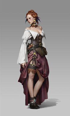 Gypsy by Siwoo Kim. Fantasy Rpg, Medieval Fantasy, Dark Fantasy, Warhammer Fantasy, Fantasy Women, Dnd Characters, Fantasy Characters, Female Characters, Fantasy Portraits