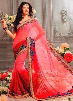 Exhilarating #Pink #Georgette #Saree