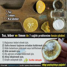 Tuz biber ve limon ile çözebileceğiniz 7 sağlık problemi‼️ 1) Boğazınızı tedavi etmek için; 1 limonun suyu, bir tutam tuz ve karabibere ihtiyacınız olacak. Bu üçünü karıştırıp, çalkalayın. Ayrıca soğuk sirke ile de boğaz tahrişini ortadan kaldırabilirsiniz. Detay devamında..#sağlık #saglik #sağlıkhaberleri #health #healthnews #limon #tuz