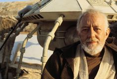 Sir Alec Guinness on the set of Star Wars in 1976.