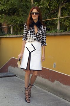 Alaia shoes, amazing skirt and shirt with collar