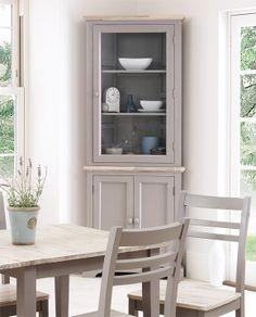 Our Blakeney Dove Grey Corner Display Cabinet