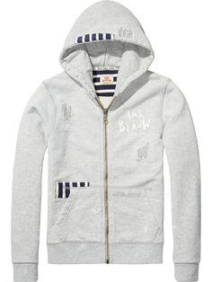 Stripe Detailed Zip-Through Hoodie - Scotch & Soda Sweat Shirt, T Shirt Polo, Couture Outfits, Summer Boy, Winter Kids, Boy Outfits, Adidas Jacket, Hooded Jacket, Scotch Soda