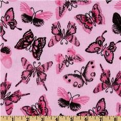 Comfy Flannel Black Butterfly Pink- Love this for a blanket!