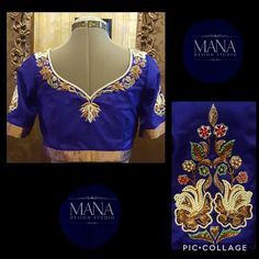 Stunning designer blue color blouse and embroidery work with pearls. 30 May 2017