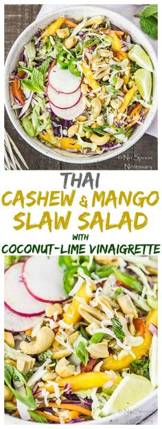 A mix of crisp, cool shredded cabbage and veggies, generously topped with tropical, sweet mangoes and salty, crunchy cashews, garnished with…