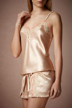 Amaranth Camisole in Lingerie Lingerie Sets at BHLDN = gorgeous but would want a different colour Satin Lingerie, Belle Lingerie, Pretty Lingerie, Luxury Lingerie, Beautiful Lingerie, Lingerie Sleepwear, Sexy Lingerie, Lingerie Sets, Nightwear