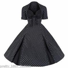 PRETTY KITTY ROCKABILLY 50s BLACK POLKA DOT VINTAGE STYLE SWING PROM DRESS 8-22   eBay