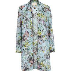Blue floral print duster jacket $110.00