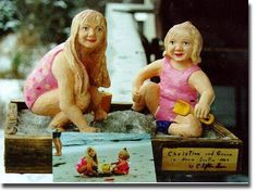 Portrait in wood, sculpture of two children at the beach. Second Child, Wood Sculpture, Nova Scotia, Caricature, Sculpting, Wildlife, Carving, Portrait, Children