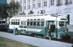 DC Transit's Silver Sightseer PCC was air conditioned in the late-1950s. The air conditioning equipment on the roof was much more attractive that the housing on Philadelphia's PCCs. Washington abandoned their streetcars in 1962 and this was the only air conditioned car.