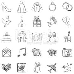 Vector Set of Sketch Weddings Icons lizenzfreie Stock-Vektorgrafik