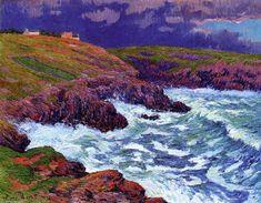 Storm, la Côte d Finestere, huile sur toile de Henri Moret (1856-1913, France)