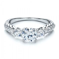 Brilliant Cut, Three Stone Engagement Ring - Vanna K