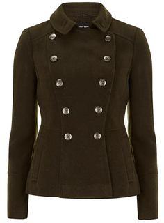 Khaki double breasted coat with military buttons and satin lining.